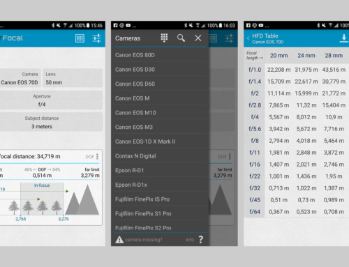 Android-App für die Berechnung der Schärfentiefe: Hyperfocal Pro